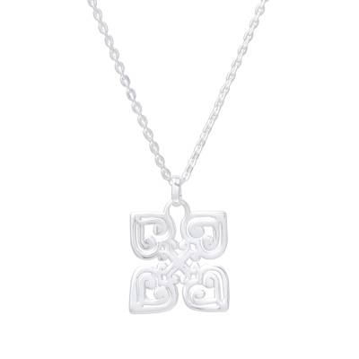 Handcrafted Sterling Silver Heart and Cross Pendant Necklace