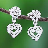 Sterling silver dangle earrings, 'Echoes of Love' - Handcrafted Sterling Silver Heart and Cross Dangle Earrings