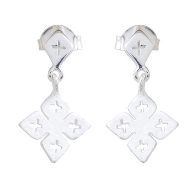 Brushed Satin Sterling Silver Flower Dangle Earrings