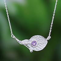 Amethyst pendant necklace, 'Crystalline Dew' - Sterling Silver and Purple Amethyst Pendant Necklace