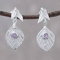 Amethyst dangle earrings, 'Frosty Leaf' - Amethyst Leaf Motif Silver Dangle Earrings