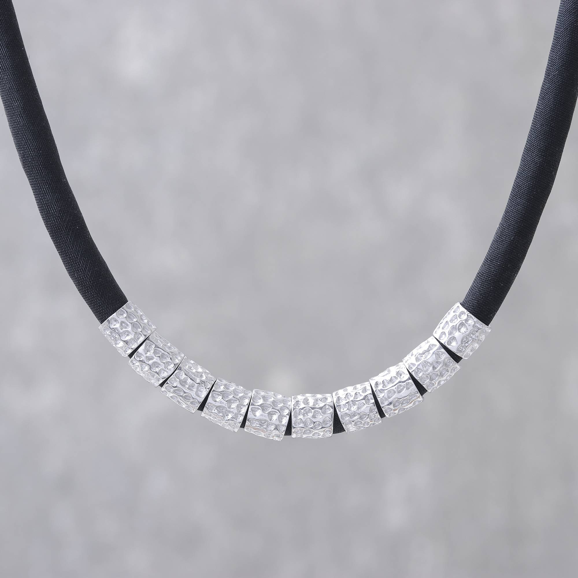 Unicef Market Hammered Sterling Silver And Black Silk Fabric Necklace Hammer Song