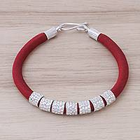Silk and sterling silver beaded bracelet, 'Fiery Beauty' - Red Silk and Hammered Sterling Silver Fabric Bracelet