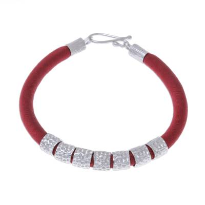 Red Silk and Hammered Sterling Silver Fabric Bracelet