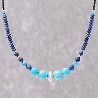 Multi-gemstone beaded necklace, 'Polynesian Waters' - Multi-Gemstone Beaded Pendant Necklace in Blue