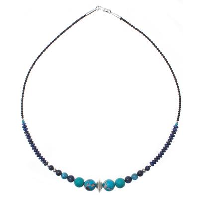 Multi-gemstone beaded necklace, 'Polynesian Waters' - Multi-Gemstone Beaded Pendant Necklace in Blue