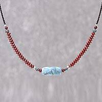 Jasper beaded pendant necklace, 'Lake Day' - Jasper Beaded Pendant Necklace from Thailand