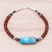 Jasper beaded pendant bracelet, 'Lake Day' - Jasper Beaded Pendant Bracelet from Thailand