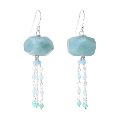 Amazonite and prehnite beaded waterfall earrings, 'Blue Grains of Sand' - Amazonite and Prehnite Dangle Earrings from Thailand