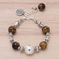 Tiger's eye charm bracelet, 'Textured Treasures' - Tiger's Eye and Karen Silver Beads Spiral Charm Bracelet