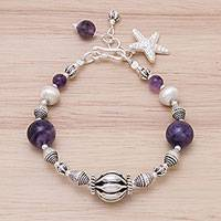 Amethyst beaded bracelet, 'Charming Starfish' - Amethyst and Karen Silver Beads Starfish Charm Bracelet