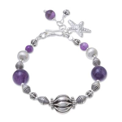 Amethyst beaded bracelet, 'Charming Starfish' - Amethyst and Karen Silver Beads Starfish Charm Bracelet
