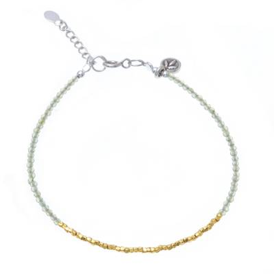 Gold accent peridot beaded bracelet, 'Gilded Meadow' - Peridot 14K Gold-Plated Karen Silver Beaded Charm Bracelet