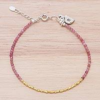 Featured review for Gold accent quartz beaded bracelet, Elephant at Dawn