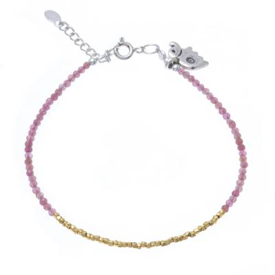Quartz 14K Gold-Plated Karen Silver Beaded Charm Bracelet