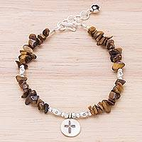 Tiger's eye beaded charm bracelet, 'Faith in Bloom' - Tiger's Eye and 950 Karen Hill Tribe Silver Bracelet