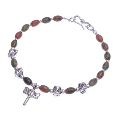 Unakite beaded charm bracelet, 'Divine Dragonfly' - Dragonfly Charm 950 Silver and Unakite Bracelet