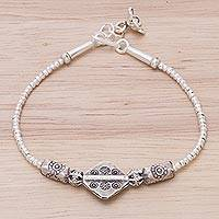 Silver beaded bracelet, 'Karen Treasure' - Hill Tribe Style 950 Silver Beaded Bracelet