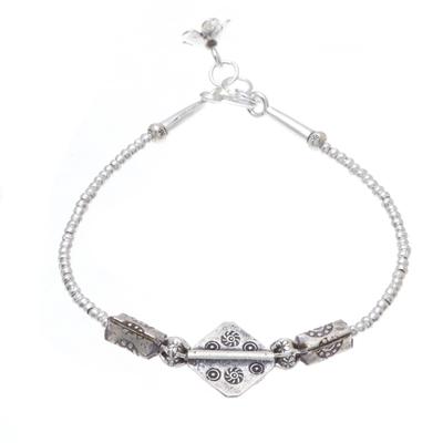 Silver beaded bracelet, 'Karen Treasure' - Hill Tribe Style 950 Silver Beaded Bracelet