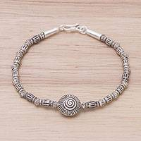 950 silver beaded pendant bracelet, 'Ancient Spiral' - 950 Silver Beaded Pendant Spiral Bracelet