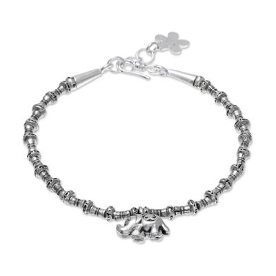 Silver beaded charm bracelet, 'Elephant Journey' - 950 Silver Beaded Bracelet with Elephant Charm from Thailand