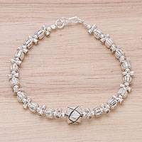 Silver beaded pendant bracelet, 'Karen Puzzle' - 950 Silver Beaded Pendant Bracelet from Thailand