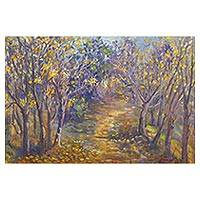 'Fai Kham' - Impressionist Oil Painting of Woodland Path