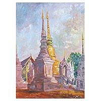 'Wat Suan Dok' - Original Oil Painting of Thai Temple Scene