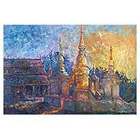 'Wat Suan Dok Sunset' - Impressionist Oil Painting on Canvas of Buddhist Temple