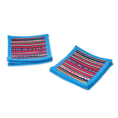 Cotton Patchwork Coasters with Blue Trim (Set of 6)
