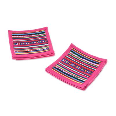 Cotton Patchwork Coasters with Pink Trim (Set of 6)
