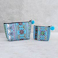 Cotton blend handbags, 'Hmong Skies' (pair) - Cotton Blend Handbags with Hmong Embroidery (Pair)
