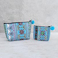 Cotton blend handbags, 'Hmong Skies' (pair) - Cotton Blend Handbags with Hmong Embroidery (Pair)