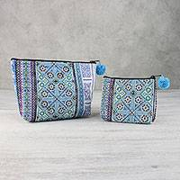 Cotton blend cosmetic bags, 'Hmong Glamour' (pair) - Embroidered Cotton Blend Hmong Cosmetic Bags (Pair)