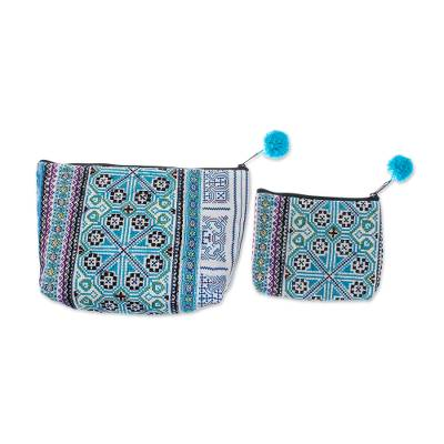 Embroidered Cotton Blend Hmong Cosmetic Bags (Pair)