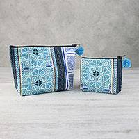 Cotton blend cosmetic bags, 'Pretty Hmong' (pair) - Blue Cotton Blend Hmong Cosmetic Bags from Thailand (Pair)