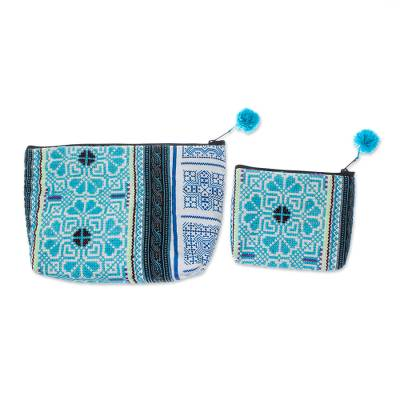 Blue Cotton Blend Hmong Cosmetic Bags from Thailand (Pair)