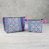 Cotton blend cosmetic bags, 'Sweet Hmong' (pair) - Colorful Hmong Cotton Blend Cosmetic Bags (Pair)
