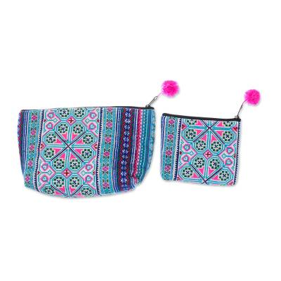 Colorful Hmong Cotton Blend Cosmetic Bags (Pair)