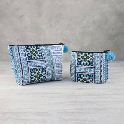 Cotton blend cosmetic bags, 'Hmong Beauty' (pair) - Hmong Hill Tribe Cotton Blend Cosmetic Bags (Pair)