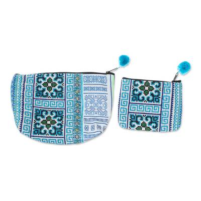 Hmong Hill Tribe Cotton Blend Cosmetic Bags (Pair)