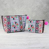 Cotton blend cosmetic bags, 'Floral Hmong' (pair) - Multicolored Hmong Cotton Blend Cosmetic Bags (Pair)
