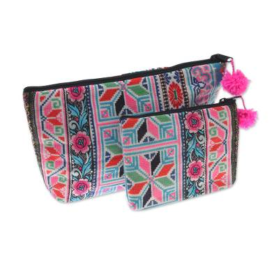 Multicolored Hmong Cotton Blend Cosmetic Bags (Pair)