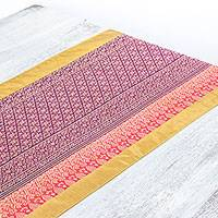 Cotton and silk blend table runner, 'Woven Magenta' - Traditional Handmade Yok Dok Cotton and Silk Table Runner