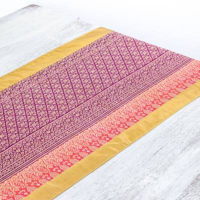 Cotton and silk blend table runner, Woven Magenta