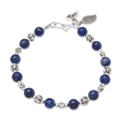 Lapis lazuli beaded bracelet, 'Floral Lapis' - Lapis Lazuli Beaded Bracelet from Thailand