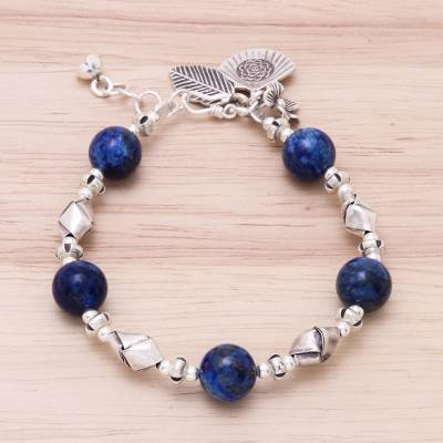 Lapis lazuli beaded bracelet, 'Charm of Blue' - Karen Hill Tribe Lapis Lazuli Beaded Bracelet from Thailand
