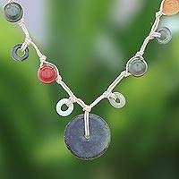Jade and quartz beaded pendant necklace, 'Green Sun' - Jade and Quartz Beaded Pendant Necklace from Thailand