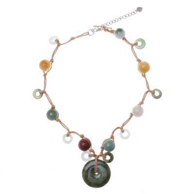 Jade and Quartz Beaded Pendant Necklace from Thailand