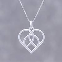 Sterling silver pendant necklace, 'Intertwined Heart' - Openwork Sterling Silver Heart Pendant Necklace